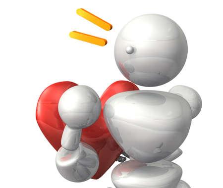unrequited love: El robot representa el amor no correspondido Esta es una imagen generada por ordenador, en el fondo blanco