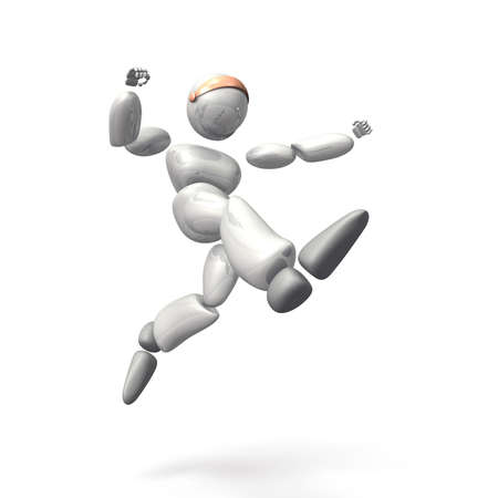 A jumping humanoid robot represents challenge  This is a computer generated image,on white background