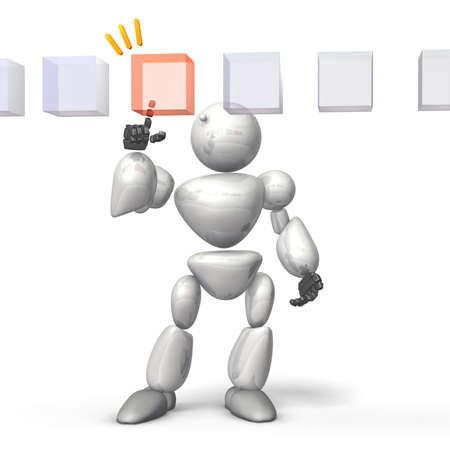 selects: Robot umanoide seleziona la risposta corretta Questa � una immagine generato dal computer, su sfondo bianco