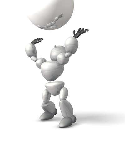 ボールをキャッチしてロボットを表す白い背景の上のコンピューター生成イメージです