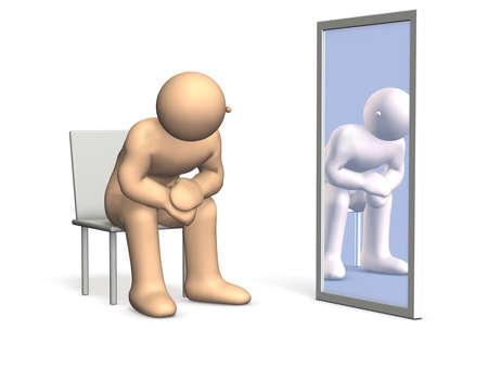 spiegelbeeld: Hij denkt aan zijn identiteit, op zoek naar zichzelf in de spiegel Dit is een computer gegenereerde afbeelding, op een witte achtergrond Stockfoto