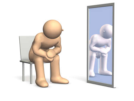 pubertad: Él está pensando acerca de su identidad, mirándose en el espejo Esta es una imagen generada por ordenador, en el fondo blanco Foto de archivo