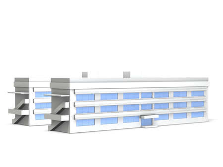 Architectural models of junior high school, This is a computer generated image,on white background