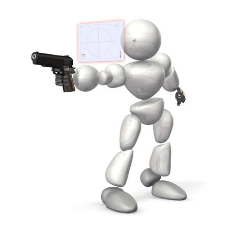 A humanoid soldier is aiming by his the latest fire control system  This is a computer generated image,on white background   photo