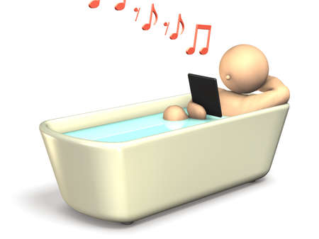 A man soaking in a bath is watching a  Tablet PC   This is a computer generated image,on white background Stock Photo - 13894711