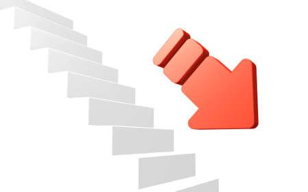 down the stairs: Flecha es la representación de su demotion.This es una imagen generada por ordenador, en el fondo blanco.