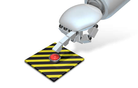 ロボットは、危険な火災ボタンを押す