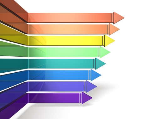 八本の矢が右に進むこれは白い背景の上のコンピューター生成イメージ