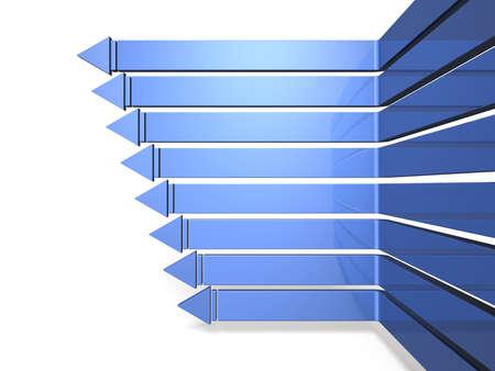 八本の矢を左に進むこれは白い背景の上のコンピューター生成イメージ