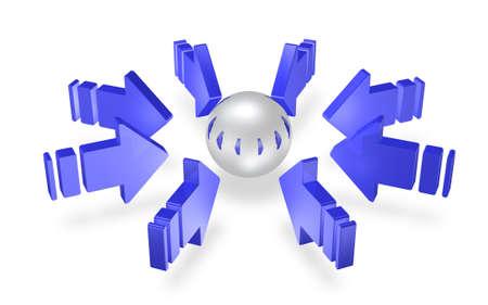 青い矢印は集中力の表現です。 写真素材 - 13997873
