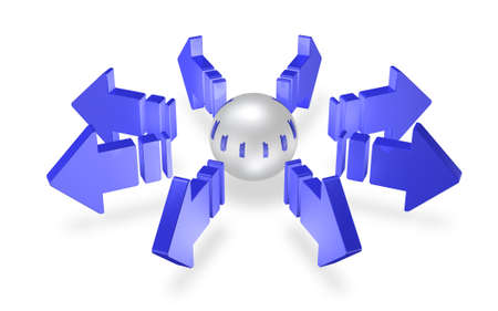 Blue arrows is representation of the radiation  版權商用圖片