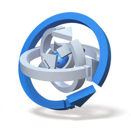 中心の核の周りの 5 つの矢印 写真素材 - 14024453