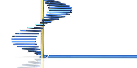 spiral stairs: The blue spiral staircase suggests the future