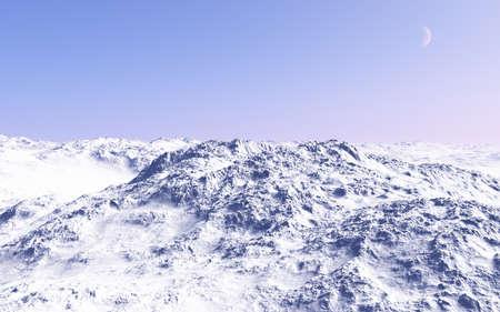 3 dcg で作成された想像上の風景、雪に覆われた山の日当たりの良い、美しい、上部