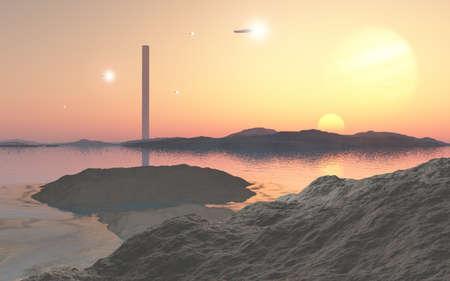 夕日と宇宙港タワーが美しいこれはコンピューター生成イメージです。 写真素材
