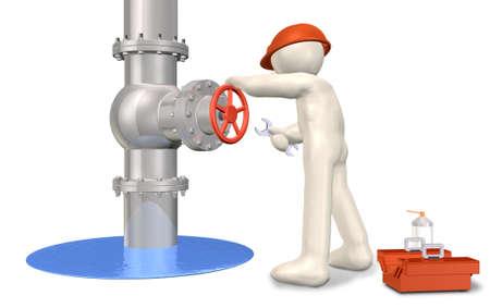 computer generated image: Un ingegnere s in riparazione Si tratta di una immagine del computer generato, su sfondo bianco