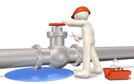 tuberias de agua: Reparaci�n de fugas Este es el generado por ordenador Foto de archivo