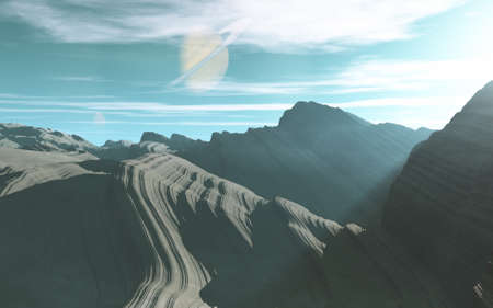 imaginary line: Imaginary landscapes created by CG ,Saturn will rise from the horizontal line