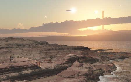 3 dcg で作成された、想像上の風景の宇宙基地