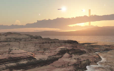 starship: An imaginary landscapes  spaceport ,created by 3DCG