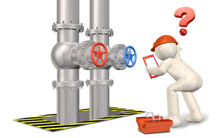 A engineers who lost a valve to be selected  This is computer generated   Stock Photo
