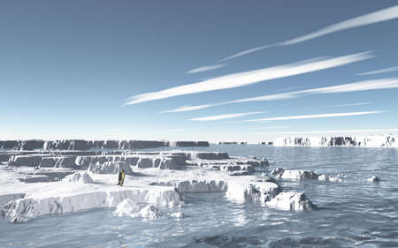 Imaginary landscapes created by 3DCG, it representing Frigid sea   photo