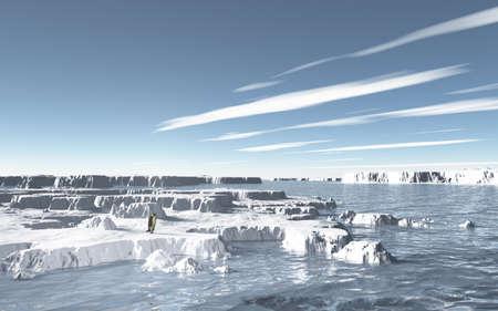 frigid: Imaginary landscapes created by 3DCG, it representing Frigid sea