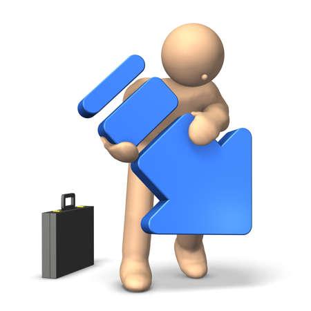 desilusion: Una flecha azul representa la decepci�n Esta es una imagen generada por ordenador, en el fondo blanco Foto de archivo