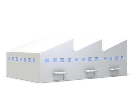 삼각형 지붕이있는 공장의 미니어처 모델이 컴퓨터 생성 이미지, 흰색 배경에