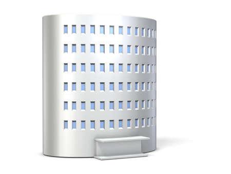 cylindrical: Una miniatura cilindrica edificio bianco Archivio Fotografico
