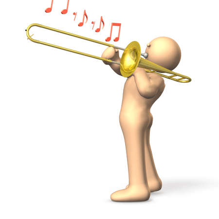 A musician s happily blowing a trombone   Stockfoto