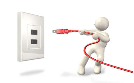 unplug: He has pulled the plug from the outlet  Stock Photo