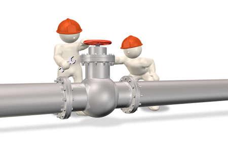 tuberias de agua: Dos ingenieros para reparar tuber�a Foto de archivo