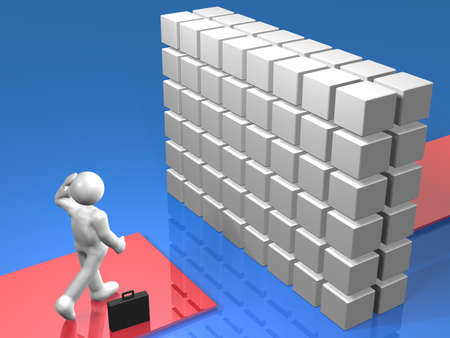 obstruction: High walls stand in the path for the businessman Stock Photo