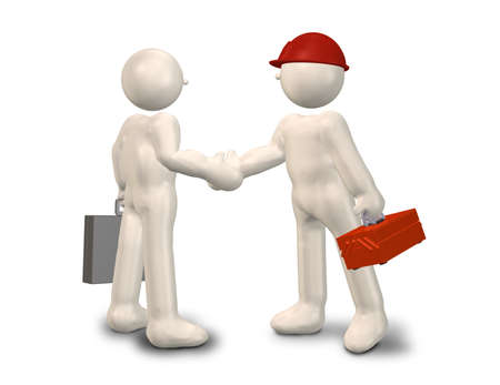 3d cg: Engineers and salesmen have a handshake  Stock Photo