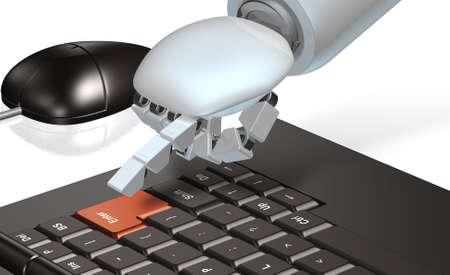Robot has been pressing the Enter button  Stockfoto