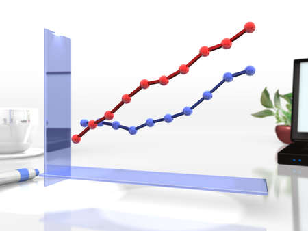 visualize: Line graph to visualize the changes Stock Photo