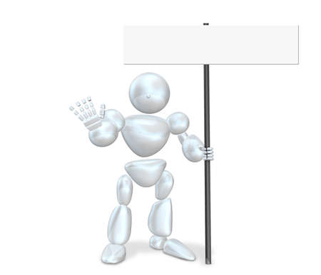 commanded: Robot is commanded to stop.This is a computer generated image,on white background.  Stock Photo
