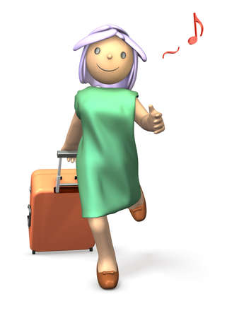 A girl wearing a dress enjoy traveling.This is a computer generated image,on white background. Stock Photo - 14461779