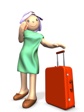 A cute girl is about to travel  This is a computer generated image,on white background Stock Photo - 14529340