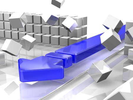 파란색 화살표는 장벽을 나누기 스톡 콘텐츠