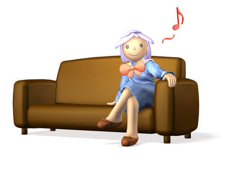 Girl in uniform is  sitting on the sofa Stock Photo - 14662050