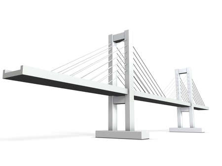 bridge illustration: Architectural models of cable-stayed bridge Stock Photo