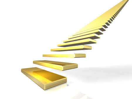 The everlasting staircase, symbolizes the first step.  Stock Photo