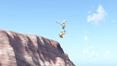 The wanton girl is jumped from a cliff  Stock Photo - 14716596