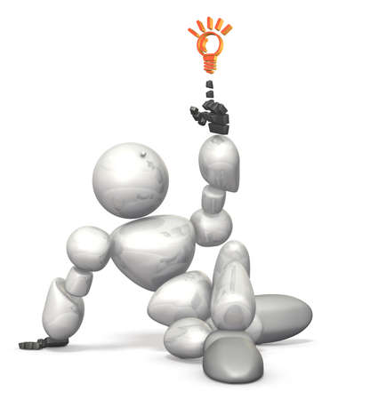 discovered: Humanoid robot has discovered new tips. This is a computer generated image,on white background.  Stock Photo