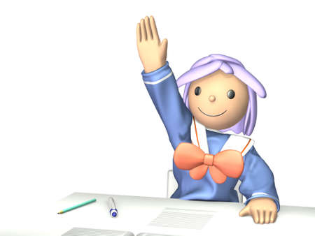 Wise student will cheerfully show of hands. Stock Photo - 14878035