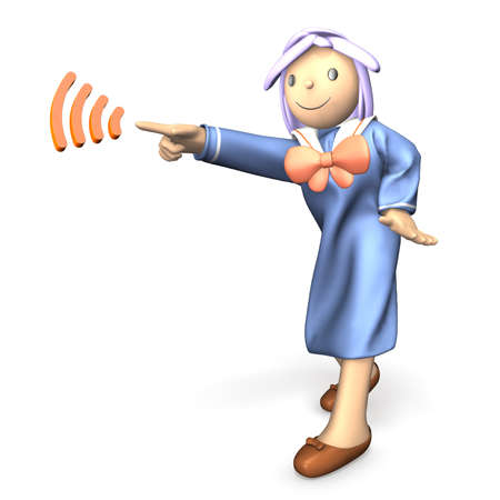 directives: Schoolgirl in uniform is pointing at something