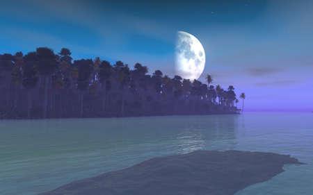 月の出と熱帯の河口を表すイメージを表示