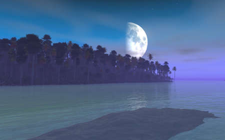 Rendering image that represents Moonrise and tropical estuary